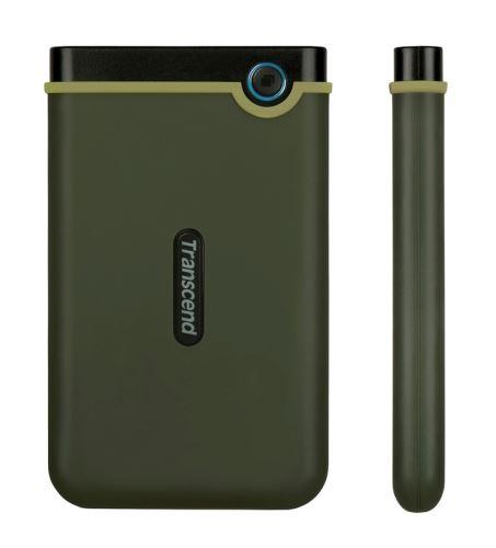 """TRANSCEND 2TB StoreJet 25M3G SLIM, USB 3.0, 2.5"""" Externí Anti-Shock disk, tenký profil, armádní zelená"""
