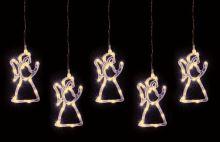 LED světelný závěs, 0,6 x 0,75 m, 5 figurek, andělé KAF5/10LANGEL