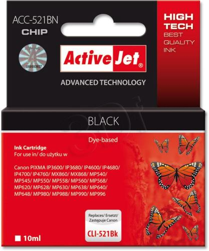ActiveJet Ink cartridge Canon CLI-521Black (WITH CHIP)     ACC-521Bk