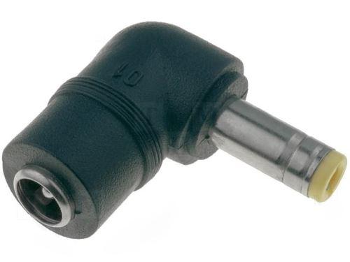 Redukce konektor vývod 2.5 x 5.5, přívod 2.1 x 5.5 uhlový