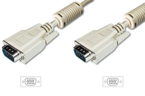 Digitus Připojovací kabel monitoru VGA, HD15 M/M, 15 m, 3Coax/7C, 2xferit, be