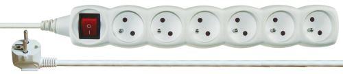 Prodlužovací kabel s vypínačem – 6 zásuvky, 3m, bílý, 1902160300