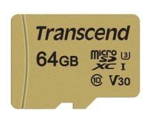Transcend 64GB microSDXC 500S UHS-I U3 V30 (Class 10) MLC paměťová karta (s adaptérem), 95MB/s R, 60MB/s W