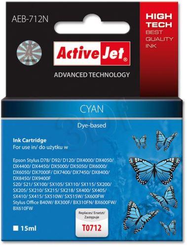 ActiveJet Ink cartridge Eps T0712 D78/DX6000/DX6050 Cyan - 15 ml     AEB-712