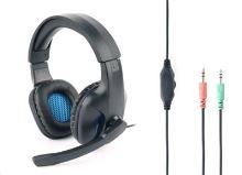 Herní sluchátka s mikrofonem Gembird GHS-04 Gaming, černo-modrá SLU05112J