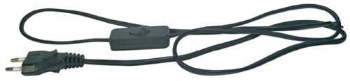 Flexo šňůra PVC 2x0,75 mm, 2 m černá s vypínačem, 2402720232