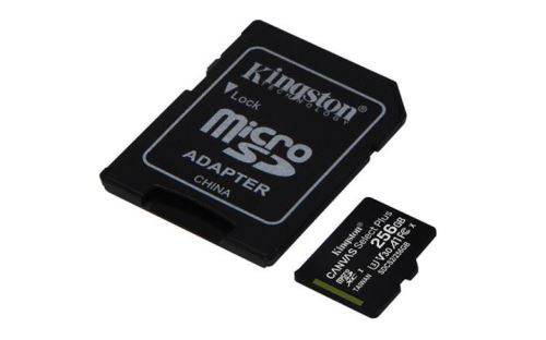 KINGSTON 256GB microSDHC CANVAS Plus Memory Card 100MB/85MBs- UHS-I class 10 Gen 3