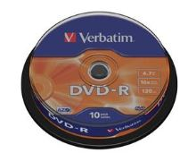VERBATIM DVD-R(10-Pack)Spindle/General Retail/16x/4.7GB , 43523