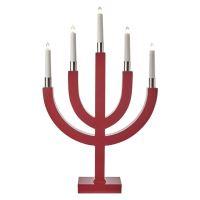 Svícen na 5× žárovičku E10 dřevěný červený, pětiram.,35×67cm, 1534222000