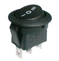 Přepínač kolébkový kul.  3pol./3pin ON-OFF-ON 250V/6A černý