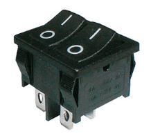 Přepínač kolébkový     2x(2pol./2pin)  ON-OFF dvojitý černý  O-I  12V