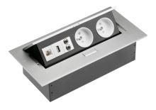 GTV  AE-PB02GU-53 Zásuvky stolní, 2x zásuvka, USB, AUDIO IN/OUT (MINIJACK)