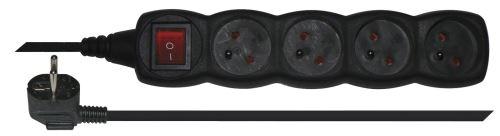 Prodlužovací kabel s vypínačem – 4 zásuvky, 3m, černý, 1902340300