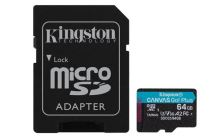 KINGSTON 64GB microSDHC Canvas Go! Plus 170R/100W U3 UHS-I V30 Card + SD Adapter SDCG3/64GB