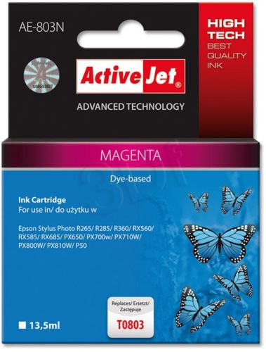 ActiveJet Ink cartridge Eps T0803 R265/R360/RX560 Magenta - 12 ml     AE-803