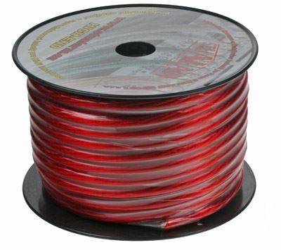 Kabel 20 mm, červeně transparentní 1m