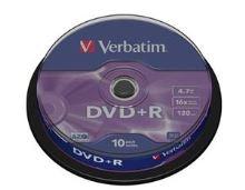 VERBATIM DVD+R(10-Pack)Spindle/General Retail/16x/4.7GB , 43498