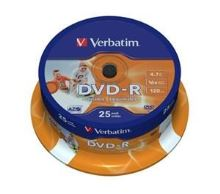 VERBATIM DVD-R AZO 4,7GB, 16x, printable, spindle 25 ks 43538