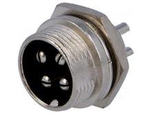 Mikrofonní vidlice do panelu 4 piny  MIC3334