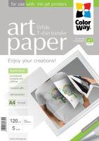 COLORWAY nažehlovací papír/ na světlý textil/ 120g/m2, A4/ 5 kusů PTW120005A4