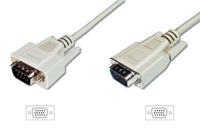 Digitus Monitor kabel, VGA, stíněný, béžový AWG28, Měď, 3 m
