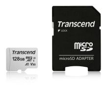 Transcend 128GB microSDXC 300S UHS-I U3 V30 A1 3D TLC (Class 10) paměťová karta (s adaptérem), 95MB/s R, 40MB/s W TS128GUSD300S-A
