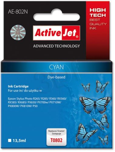 ActiveJet Ink cartridge Eps T0802 R265/R360/RX560 Cyan - 12 ml     AE-802