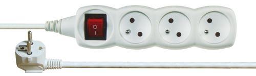 Prodlužovací kabel s vypínačem – 3 zásuvky, 2m, bílý, 1902130200