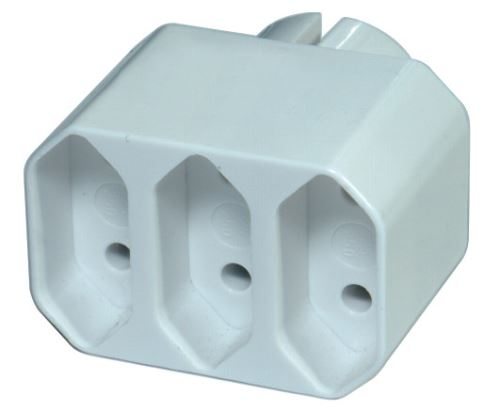 Rozbočovací zásuvka 3× plochá, bílá, 1905030000