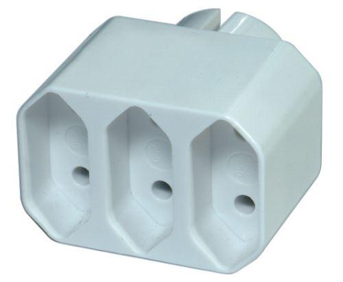 Zásuvka rozbočovací 3x plochá, bílá, 1905030000