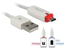 Delock datový a napájecí kabel USB 2.0-A samec > Micro USB-B samec s LED indikátorem, bílý 83604