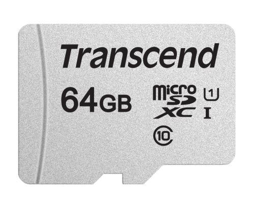 Transcend 64GB microSDXC 300S UHS-I U1 (Class 10) paměťová karta (bez adaptéru)