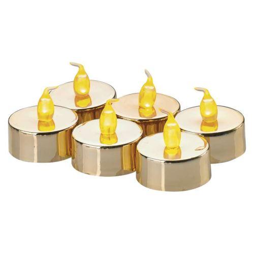 LED dekorace – 6× čajová svíčka zlatá, 6× CR2032, ZY2151
