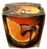 Svíčka vonná ve skle čokoláda s ovocem pomeranč