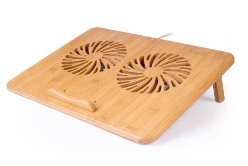 "C-TECH Chladící podložka pro ntb Bamboo, 15,6"", 2x 140mm, 2x USB, regulace otáček, bambuso"
