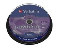 VERBATIM DVD+R(10-pack)DOUBLE LAYER 8X 8.5GB MATT SILVER SURFACE/spindle , 43666