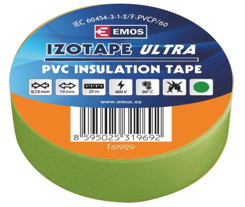 Izolační páska PVC 19mm / 20m zelená, 2001192090