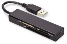 Ednet USB čtečka karet 2.0, 4 porty, Podporuje MS, SD, T-Flash, CF formáty černá, 85241