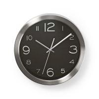 Nástěnné nerezové hodiny, průměr: 30 cm,l Nedis CLWA010MT30BK