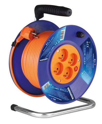 PVC prodlužovací kabel na bubnu – 4 zásuvky, 50m, 1,5mm2, 1908045001