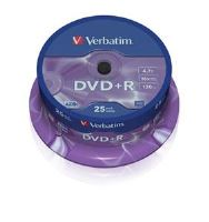 VERBATIM DVD+R(25-Pack)Spindle/General Retail/16x/4.7GB