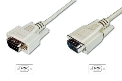 Digitus Monitor kabel, VGA, stíněný, béžový AWG28, měď, 1,8m