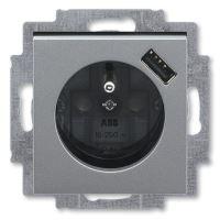 JBLV Z 5569H-A02357 69 ZÁSUVKA 1-NÁS. S CLONKAMI USB NABÍJENÍM LEVIT OCELOVÁ/KOUŘ. ČERNÁ