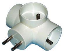 Rozbočovací zásuvka 3× kulatá, bílá, 1905030020