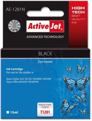 ActiveJet ink cartr. Eps T1281 Black S22/SX125/SX425   100% NEW     AE-1281