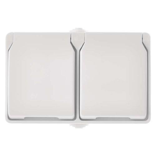 Zásuvka nástěnná dvojitá, bílá, IP44, 1950010206