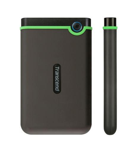 "TRANSCEND 1TB StoreJet 25M3S SLIM, USB 3.0, 2.5"" Externí Anti-Shock disk, tenký profil, šedo/zelený, TS1TSJ25M3S"
