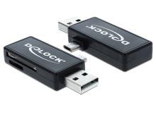 Delock Micro USB OTG čtečka karet + USB A samec, 91731