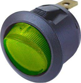Spínač kolébkový kulatý 20A zelený s podsvícením, 47038