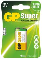 Alkalická baterie GP Super 6LF22 (9V), blistr, 1013511000